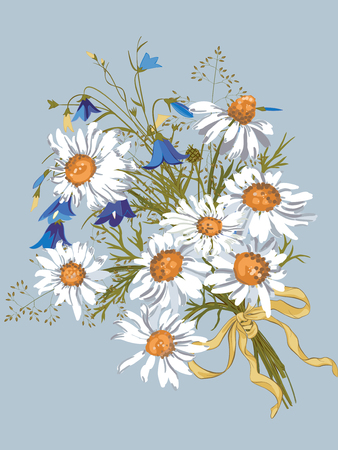 Cool Vector bouquet with chamomiles and bluebells