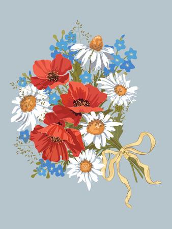 Chamomiles, 빨간 양귀비와 forget-me-nots가있는 벡터 꽃다발 일러스트