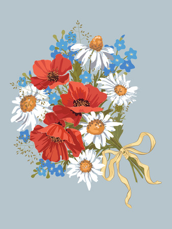Vector bouquet with chamomiles, red poppies and forget-me-nots