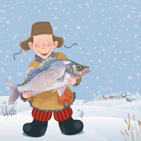 fishing village: Cheerful guy with a caught up big fish cartoon design. Illustration