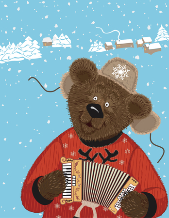 harmonic: Cute furry bear in a russian winter shapka playing on accordion Illustration