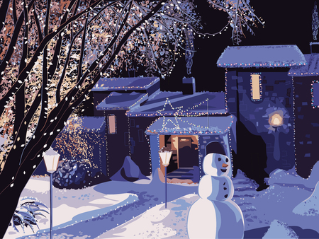 Winter landscape with a house decorated for Christmas