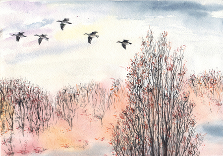 Watercolor, ink autumn with flying flock of birds and trees