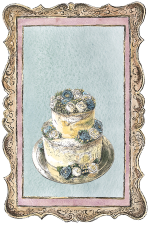 Two-tier wedding cake decorated with cream roses in a frame. Watercolor, ink painting. Collage