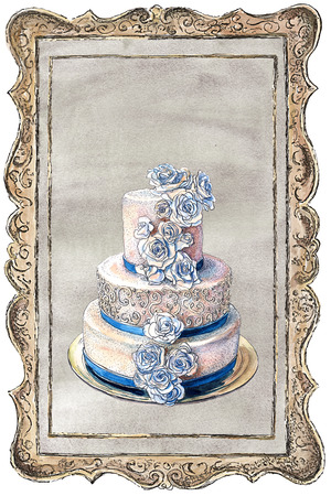 Three-tier wedding cake decorated with cream roses in a frame. Watercolor, ink painting. Collage