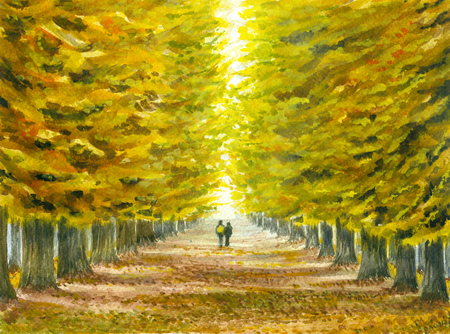 Watercolor illustration of the autumn landscape with a couple of strolling through the old park
