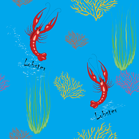 Painted wallpaper pattern with lobsters, corals and seaweeds Illusztráció