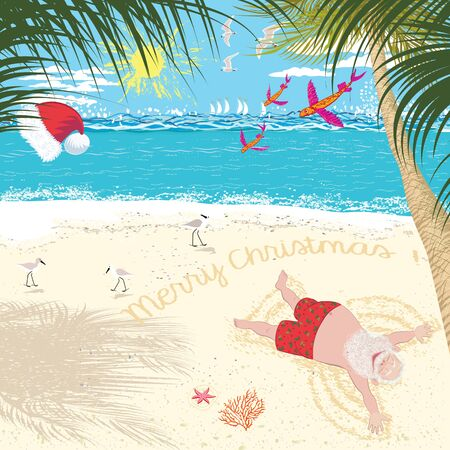 Santa Claus enjoys relaxing in the tropics, sunbathes on the beach and makes a snow angel on the sand
