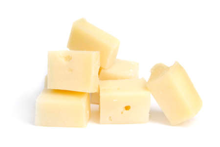 pieces of cheese, yellow, parmesan, isolated overwhite photo