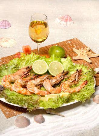 grilled shrimp, white vine photo