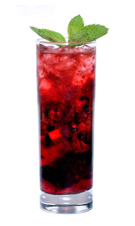 red cocktail with mint leaf Stock Photo