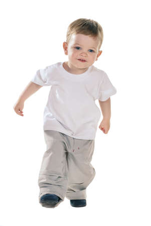 small baby boy in t-shirt over white photo