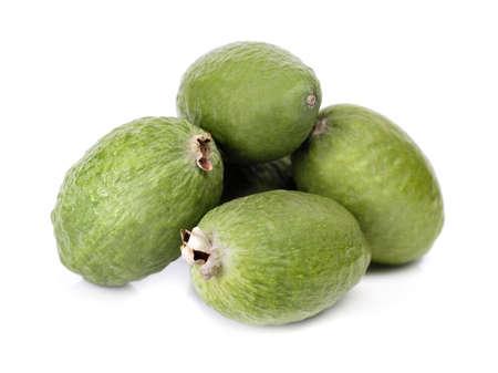 feijoa: green raw tropical fruit feijoa over white