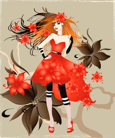 fashion girl style: illustration of the girl in red dress Illustration