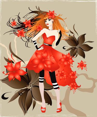 trendy girl: illustration of the girl in red dress Illustration