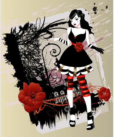 gothic girl Stock Vector - 7493377