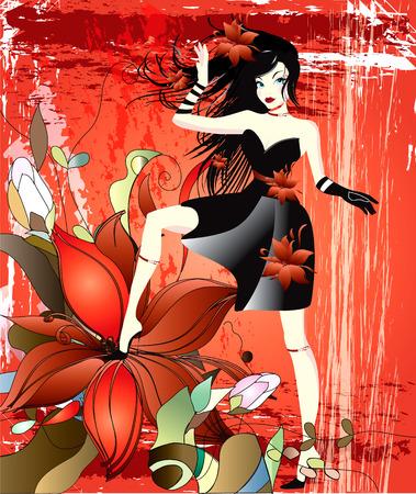 robe noire: jeune fille en robe noire