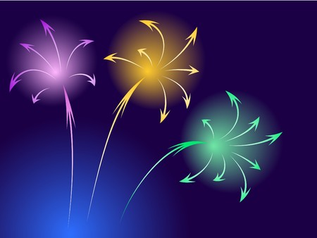 achieve goal: Composition of  colored arrows in fireworks style