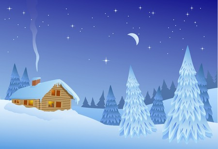 Christmas time winter landscape, vector Stock Vector - 8202235