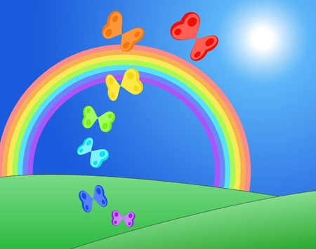 Hearts in form of butterflies and colors of raimbow flying over fields . Love, Valentine concept. Vector