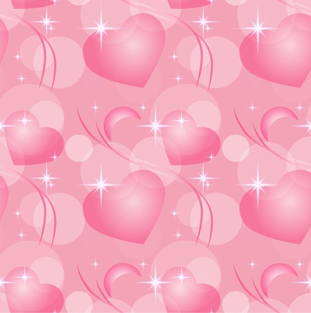 Heart and stars seamless background, eps10 Vector