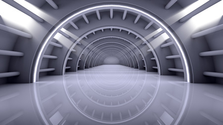 arched: Abstract Modern Architecture Background, empty futuristic interior