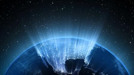 mapas conceptuales: Planeta Tierra en el universo o en el espacio, la Tierra y la galaxia en una nube nebulosa
