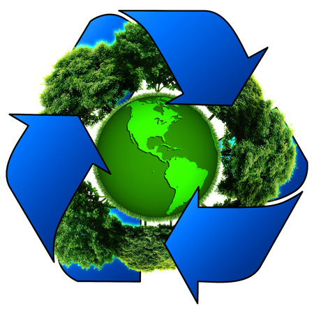 recycle logo: Recycle logo with tree and earth. Eco globe with recycle signs.