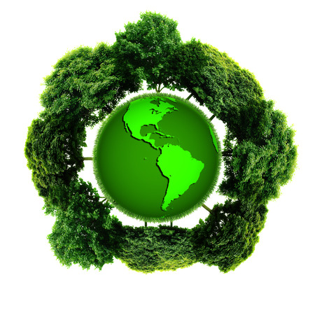 symbolize: Ecology planet with with trees around. eco earth