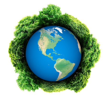 symbolize: Ecology planet with with trees around. eco earth  Stock Photo