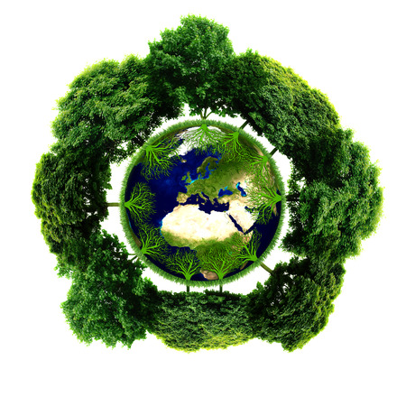 Ecology planet with with trees around. eco earth  photo
