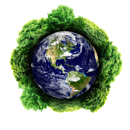 earth friendly: Ecology planet with with trees around. eco earth  Stock Photo