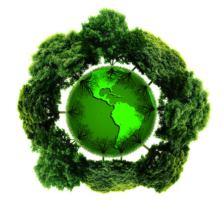 ecologist: Ecology planet with with trees around. eco earth  Stock Photo