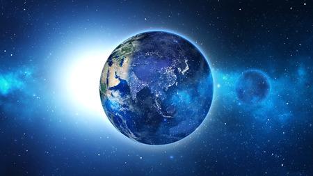 wereldbol: Planeet Aarde met zon in het universum of de ruimte, de aarde en de melkweg in een nevel wolk. Stockfoto