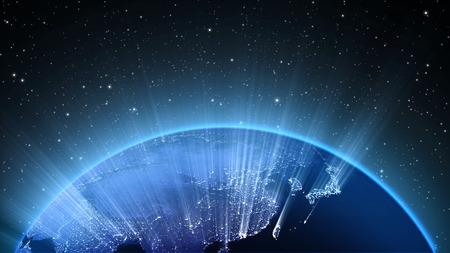 성운 구름에 우주 또는 공간, 지구와 은하계에서 태양과 지구