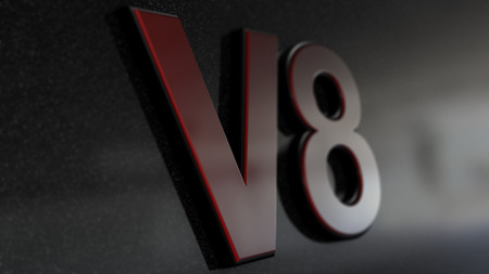 v8: V8 sign, label, badge, emblem or design element on car print. 3d render.