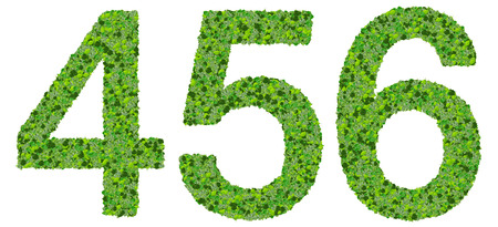 4 5: Numbers 4 5 6 made from green leaves isolated on white background. Stock Photo