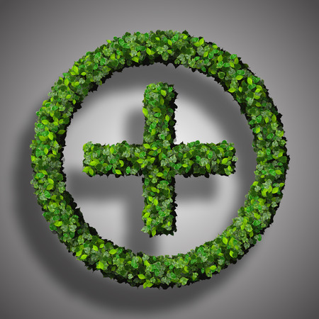 Plus sign made from green leaves isolated on white background. 3D render. photo