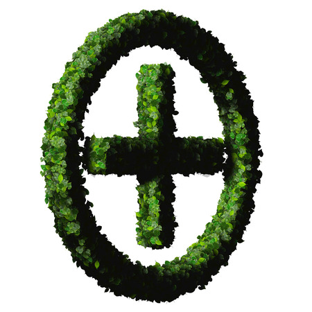Pharmacy Plus with ring, sign made from green leaves isolated on black background. 3D render. photo