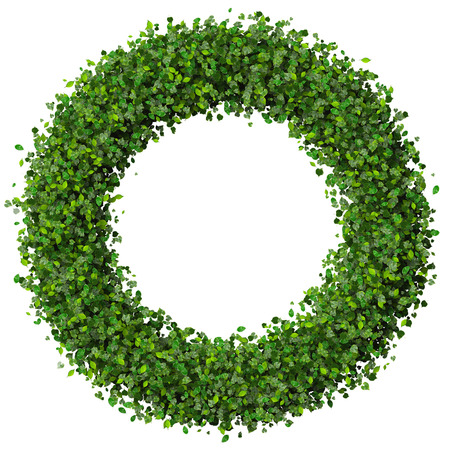 Ring, circle made from green leaves isolated on white background. 3d render.