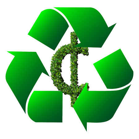 Cent (currency) symbol or sign made from green leaves isolated on white background. 3d render photo