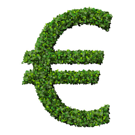 Euro (currency) symbol or sign made from green leaves isolated on white background. 3d render. photo