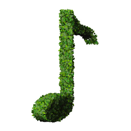 eight note: Musical note eight symbol made from green leaves isolated on white background. 3d render Stock Photo