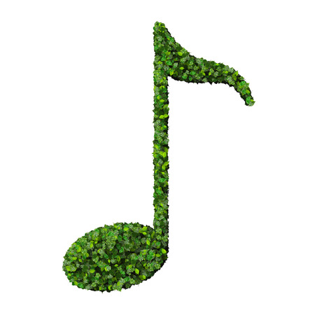 Musical note eight symbol made from green leaves isolated on white background. 3d render photo