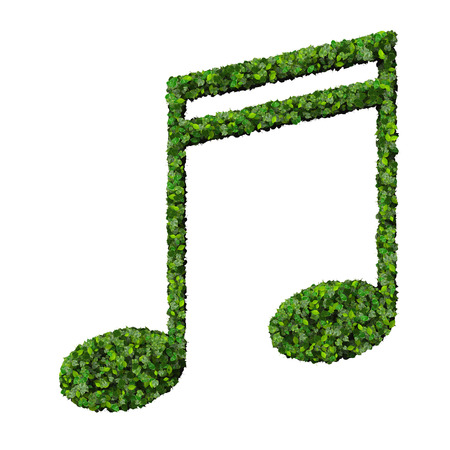 semiquaver: Musical note double semiquaver symbol made from green leaves isolated on white background. 3d render