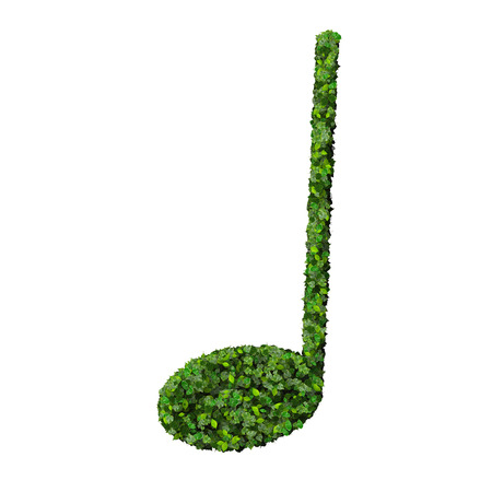crotchet: Musical note crotchet symbol made from green leaves isolated on white background. 3d render