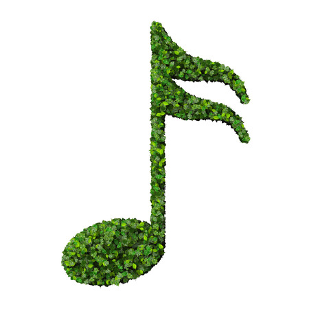 semiquaver: Musical note semiquaver symbol made from green leaves isolated on white background. 3d render Stock Photo