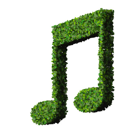 eight note: Musical note double eight symbol made from green leaves isolated on white background. 3d render Stock Photo