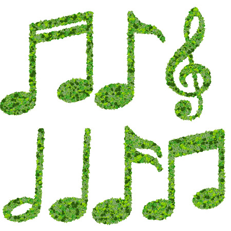 Musical notes, symbol made from green leaves isolated on white background. 3d render photo