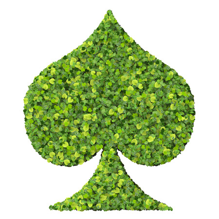 spades: Playing card eco icon spades made from green leaves isolated on solid background. 3D render. Stock Photo